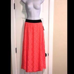 NWT LulaRoe Lucy Tangerine Maxi Skirt XS